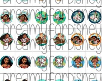 Moana bottle cap images 1 inch 25 mm printable images instant download