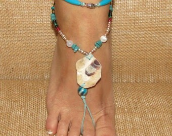 Oyster Shell Barefoot Sandals, Beaded Barefoot Sandals, Sea Shell Barefoot Sandals, Feet Jewelry, Beach Wedding Barefoot Sandals, Anklets
