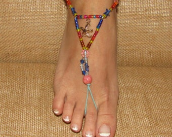 Beaded Barefoot Sandals, Beach Shoes, Feet Jewelry, Footless Sandals, Feet Thongs, Anklet Bracelets