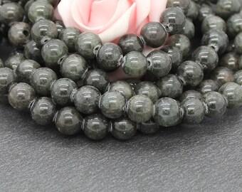 khaki Brown dyed jade 8 mm 20 beads