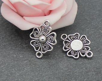 x 20 connectors flower in antique silver 20.5 x 15 mm COA235