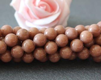 Brown dyed jade 8 mm PEJ73 10 beads