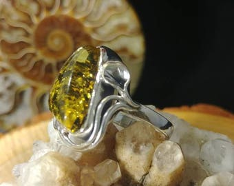 Stunning green amber custom fabricated Sterling silver size 8 ring / Handcrafted One if a kind green Baltic Amber ring size 8