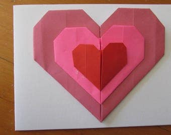 Origami heart card celebrates mothers or others