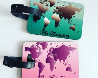 Couple's personalised world map luggage tag, personalised luggage tag, luggage tags, Mr and Mrs luggage tag, Honeymoon luggage tags,