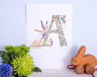 Illustrated nursery print- letter A