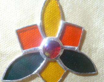 suspension stylized flower in tiffany, window decoration