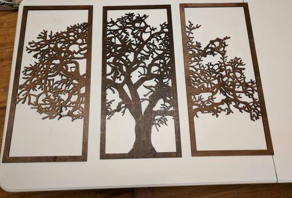 3 panel Wooden Tree Wall Art