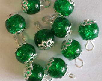 5 pendants 8mm Green Crackle glass beads