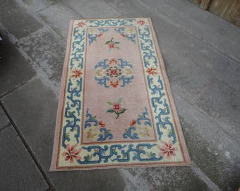 Turkish vintage rug,FREE SHIPPING !! Oushak rug,Area rug,boho rug,Prayer rug ,vintage Turkish rug,hand woven rug,muted color rug,52'' x 30''