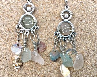 Beach Glass Wired Shell Dangling Earrings