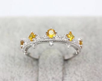 Natural Yellow Sapphire Wedding Band, Ring 18k White Gold VS Diamonds/ Vintage Engagement Ring Anniversary Present Gift For Women Stylish