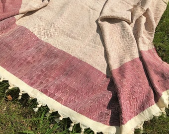 Large cotton throw blanket