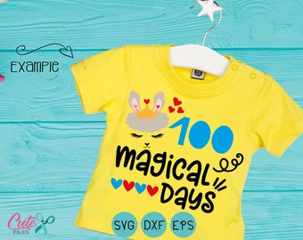 Llama face svg, 100 magical days svg, school, 100th day of school svg,  alpaca, 100 days shirt, little girl, DXF eps, cut file  cameo