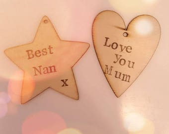 Personalised wooden decoration. Mother's Day. Hanging Decoration. Book mark. Gifts.