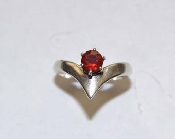 Vintage Sterling Silver Ring with Red Garnet Colored Stone Ring