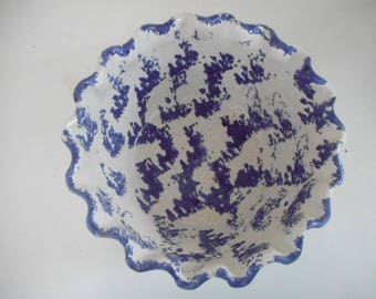 Splatterware, spongeware bowl, blue and white, pottery