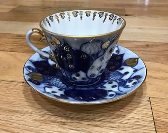 Lomonov Russian Domes Porcelain Tea Cup and Saucer.  Cobalt Blue.  22K Gold.