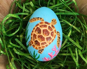 Hand Painted Easter Egg with Sea Turtle - Spring Decor