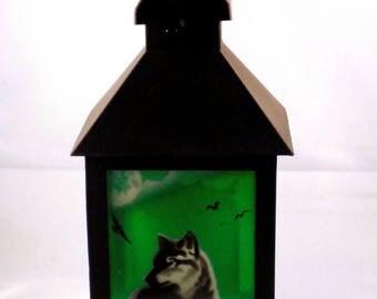 Hand-painted lantern, Wolf, Winter, Christmas