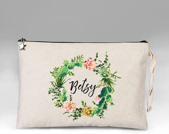 Personalized Makeup Bag, Makeup Bag, Cactus Make Up Bag, Floral Make Up Bag, Bridesmaid Gift, Cosmetic Bag, Makeup Organizer, Gift for Her