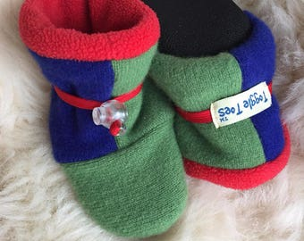 Bright and funky Toggle Toes wool slipper, non-slip soft sole shoe, in infant 4-12 months or baby shoe size 1-3
