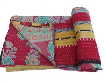 Maroon Vintage Reversible Kantha Quilt Old Cotton Kantha Quilt Handmade Blanket cotton Reversible Kantha Blanket 1023