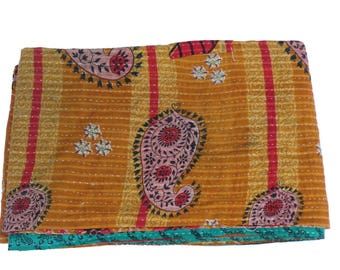 Yellow Twin Vintage Reversible Kantha Quilt Handmade Cotton Kantha Quilt Handmade Blanket cotton Reversible Kantha Quilt