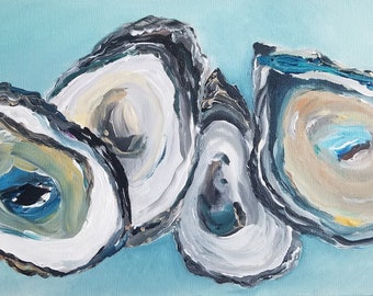 4 squished oysters / ORIGINAL / oyster paintings/ coastal wall art/ coastal decor/ original art/ shell art/