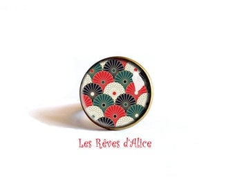 ring * fans of Japan * pattern small papers Asian Red, green, white
