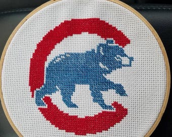 Chicago Cubs Completed Cross-Stitch