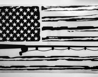 Distressed American Flag | Fishing Vinyl Decal | 6x9 in.