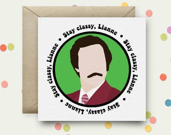 Personalised Anchorman Square Pop Art Card & Envelope
