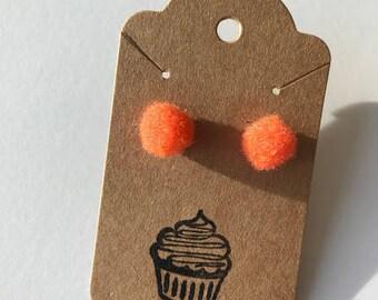 Orange Pom Pom Earrings