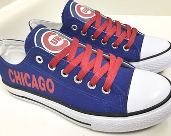 Custom CHICAGO CUBS Womens & Mens Royal Blue/Red/White Low Top Canvas Tennis Shoes