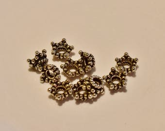 Bali Sterling Silver end cap beads 7.8 x 7.8 x 4.5mm - 10 pieces - 5.67 grams