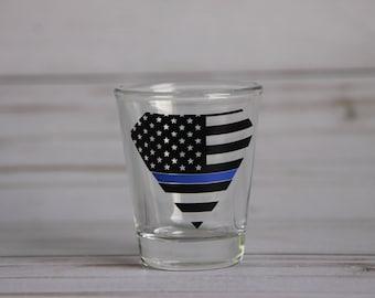 Thin Blue Line Superman logo shot glass