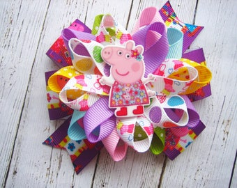 Peppa Pig hair bow  Peppa Pig Party Peppa Pig Birthday Peppa Pig Favor Peppa Pig Dress  Peppa Pig Loopy Hairbow Peppa pig Hair Clip