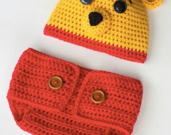 Pooh Themed baby set, photo sets, diaper covers, cap