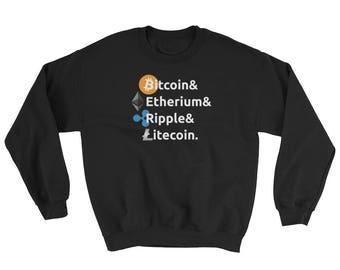 Bitcoin Ethereum Ripple Litecoin Sweatshirt // Cryptocurrency Sweater // Digital Currency Sweatshirt // Crypto Sweater // Blockchain Bitcoin