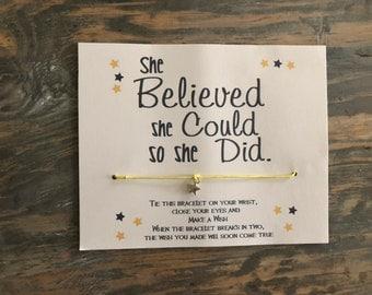 She believed she could so she did.Girl wish bracelet.Star wish bracelet.Empowering women jewelry.Believe in yourself wish bracelet.