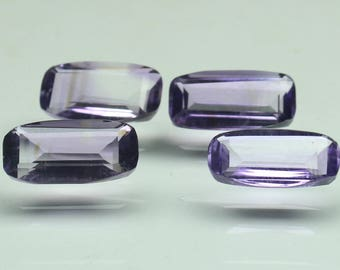 Natural Rare Purple Amethyst 4 PCs Lot Faceted Octagon Size- 7X14x5 Approx 13.90 Carat