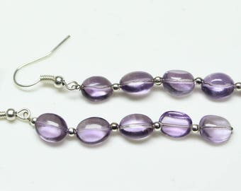 "Natural Brazil Amethyst Oval Tumbles Steel Dangle Earrings Total Weight 20 Carats,  2"" Inches, gemstone Size- 7x9 MM Approx Code-HN23"