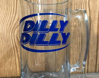 Dilly Dilly big 24 oz beer mug, bud light, the king, Super Bowl, football, dilly dilly, commercials, NFL, beer, anhieser bush,