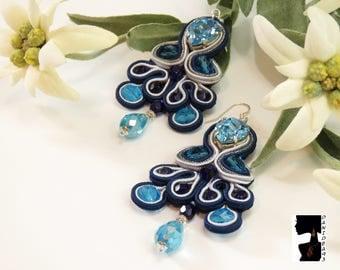 Soutaches long blue Swarovski earrings-blue soutaches earrings-long earrings-gift for her-Valentine's Day-soutaches
