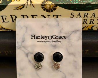 Sterling Silver and Blue Goldstone Stud Earrings