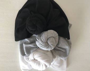 Black, grey, & white knotted turbans