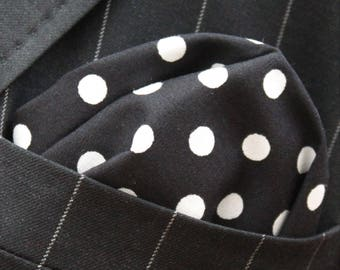 Hankie Pocket Square Handkerchief BLACK WHITE Polka Dot Premium Cotton UK Made