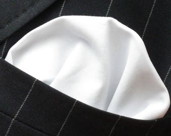 Hankie Pocket Square Handkerchief BRILLIANT WHITE - Premium Cotton - UK Made