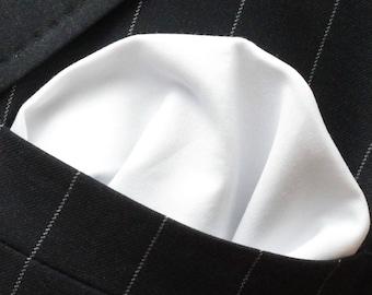 Hankie Pocket Square Handkerchief BRILLIANT WHITE - Premium Cotton - UK Made